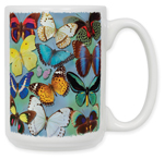 Butterflies on Blue Coffee Mug